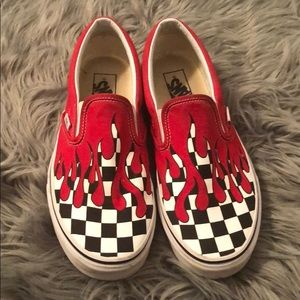 Checkered Vans W/ Red Paint